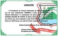 CONVITE PARA SESSÃO DE POSSE DA MESA DIRETORA DESTA CÂMARA MUNICIPAL PARA O ANO DE 2018
